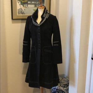 Hazel - Mid-calf length black jacket